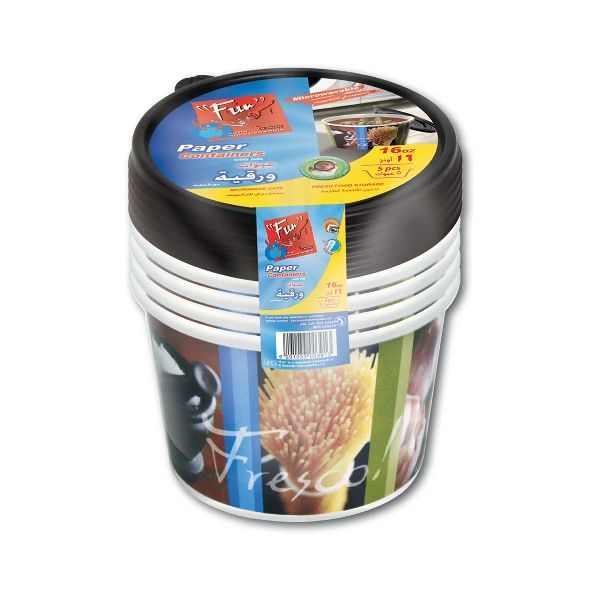 Printed Paper Container 16oz w/ Lid