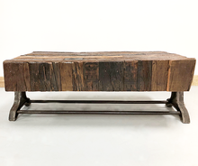 Industrial Coffee Table aged rail wood top