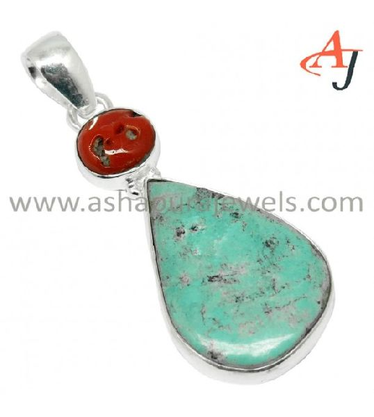 Square Shape Pendant Jaipur Rajasthan India 925 Silver Plated Lapis Lazuli /& Turquoise Handmade Jewelry Manufacturer Coral