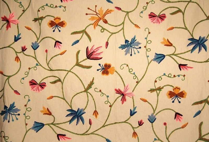 Cotton Crewel Embroidered Fabric Butterfly Brown, Multicolor