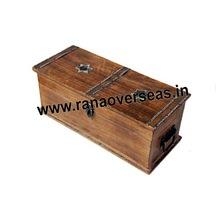 Wooden Plain Antique Long  Bottles Box
