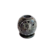 Black Soapstone Candle Holder