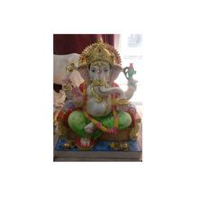 Decorated Marble Painted Ganapati Statue