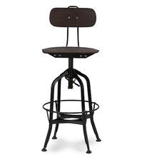 Iron Base Wood Seat Adjustable Bar Stool