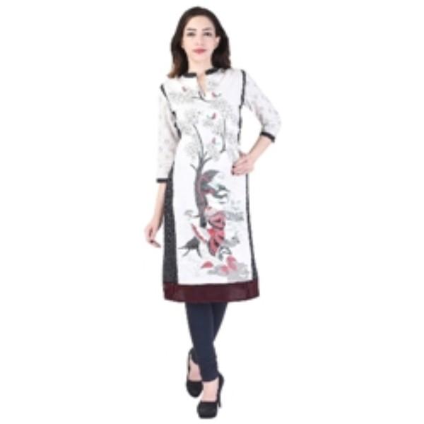Exclusive Designer Printed White colored 3/4 sleeve Cotton kurti kurta Dress