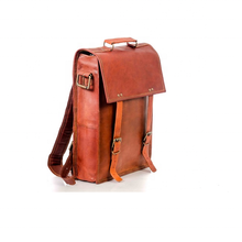 Leather Rucksack with 1 pocket waxed brown