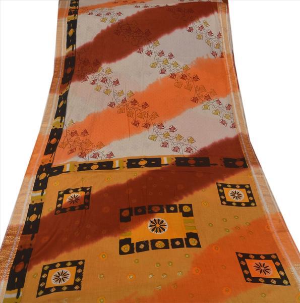 Vintage 100% pure cotton ethnic saree multi color printed sari craft fabric