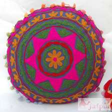 Cotton Cushion Cover Decorative Traditional Suzani Embroidery-Craft Jaipur