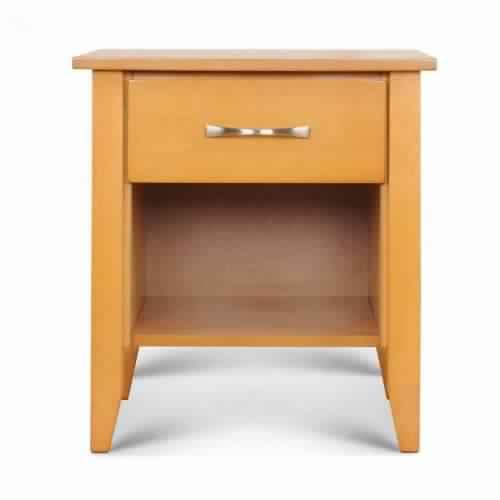 Commander Solid Wood Bedside Table (Natural Finish, Brown)