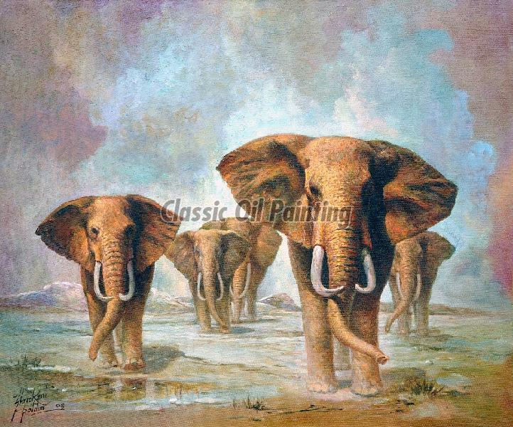 Elephants oil painting