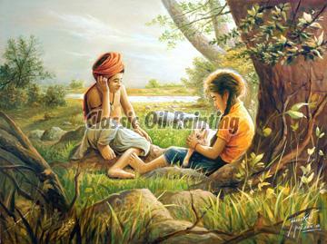 Indian village people oil paintings