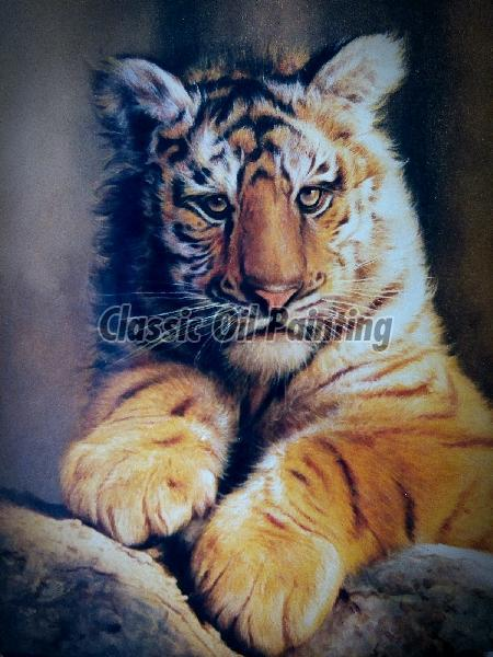 Lion cub oil on canvas wildlife paintings
