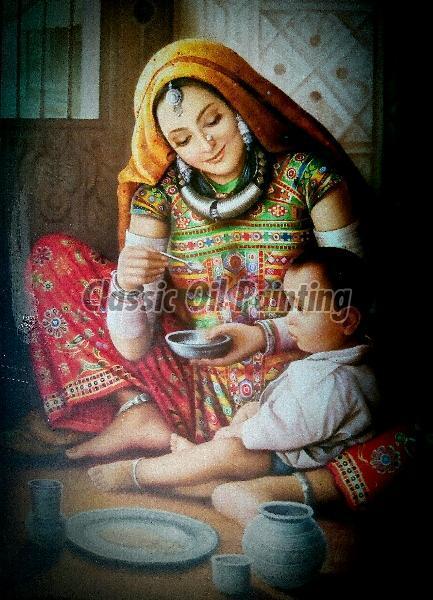 Rajasthani lady feeding the child oil painting