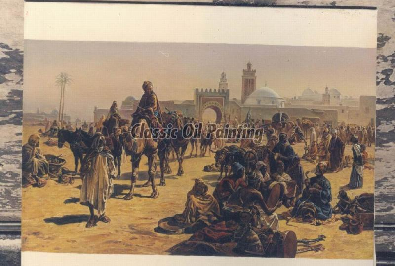 Reproduction of orientalist painting in oil on canvas