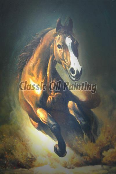 Running wild horse oil painting