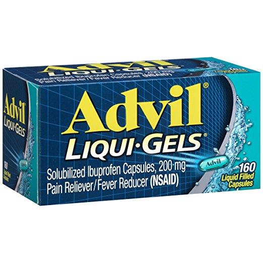 Advil Liqui-Gels (160 Count) Pain Reliever/Fever Reducer Liquid Filled Capsule, 200mg Ibuprofen, Tem