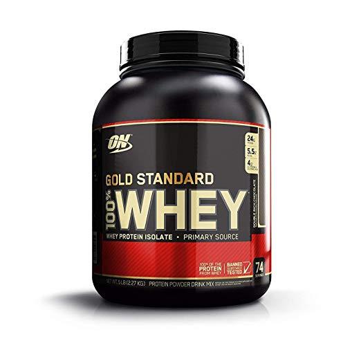 OPTIMUM NUTRITION GOLD STANDARD 100% Whey Protein Powder, Double Rich Chocolate, 5 Pound b (001)