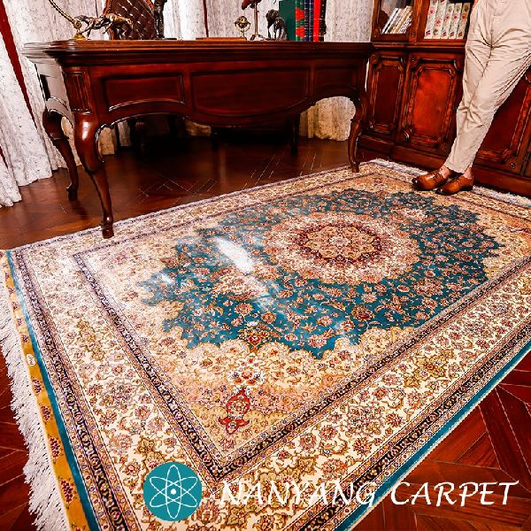 5 X8 Vintage Blue Persian Rug Silk