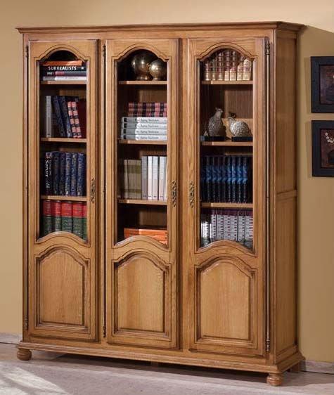 Wooden Three Door Book Case