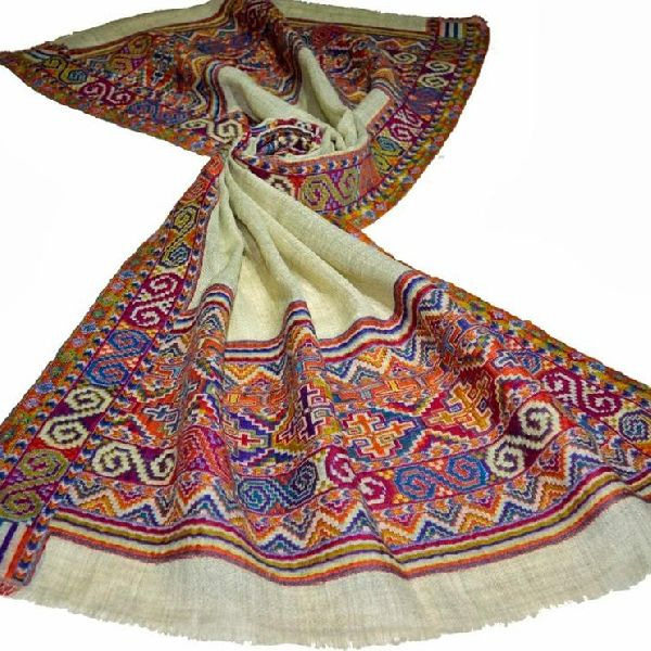 wool Kani pashmina border pattern