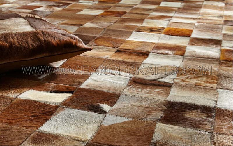 Leather Hair On Rugs Manufacturer In Uttar Pradesh India By