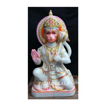 White Hanuman Designing Marble Statue