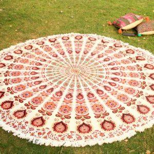 Indian Elephant Mandala Round Roundie Beach Throw Towel Hippie Yoga Mat Pom Pom