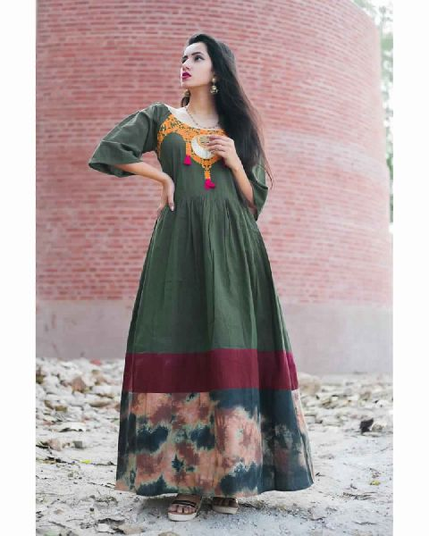 945d30843 Deep Green Long Linen Off- Shoulder Maxi Dress Manufacturer in Surat ...