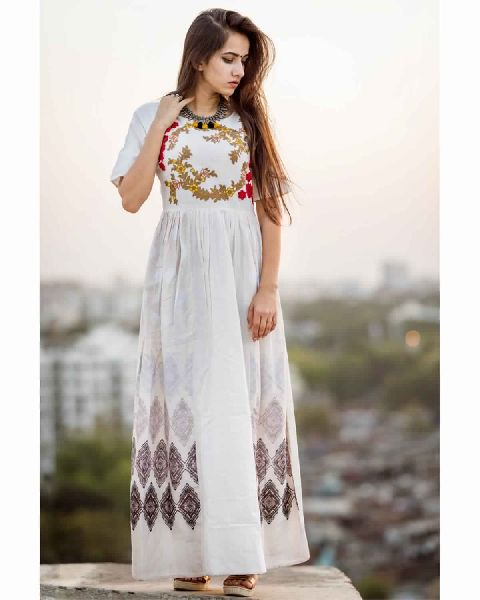 89b2e5f48 Off-White Linen Long Maxi Dress with Embroidered Yoke Manufacturer ...