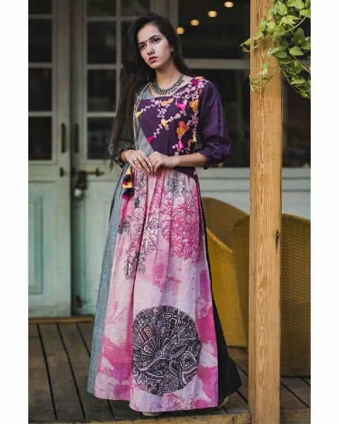 7787a692e Purple Grey Angrakha Long Linen Maxi Dress Manufacturer in Surat ...