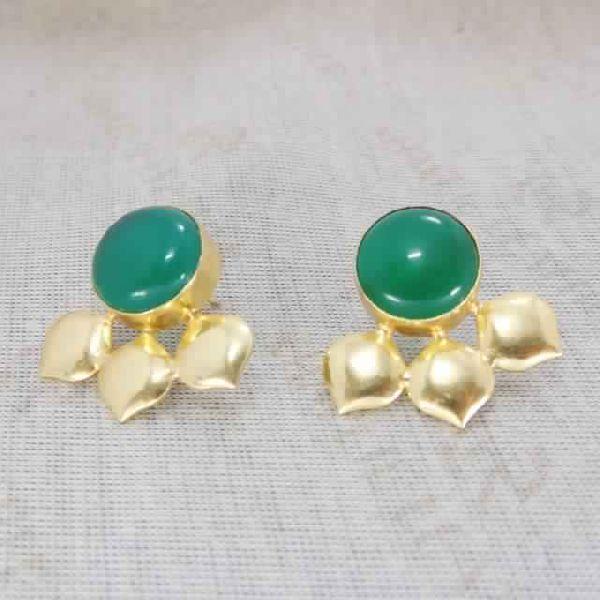 Green Onyx Gemstone 925 Silver Gold Plated Women/'s Earrings Wedding Jewelry