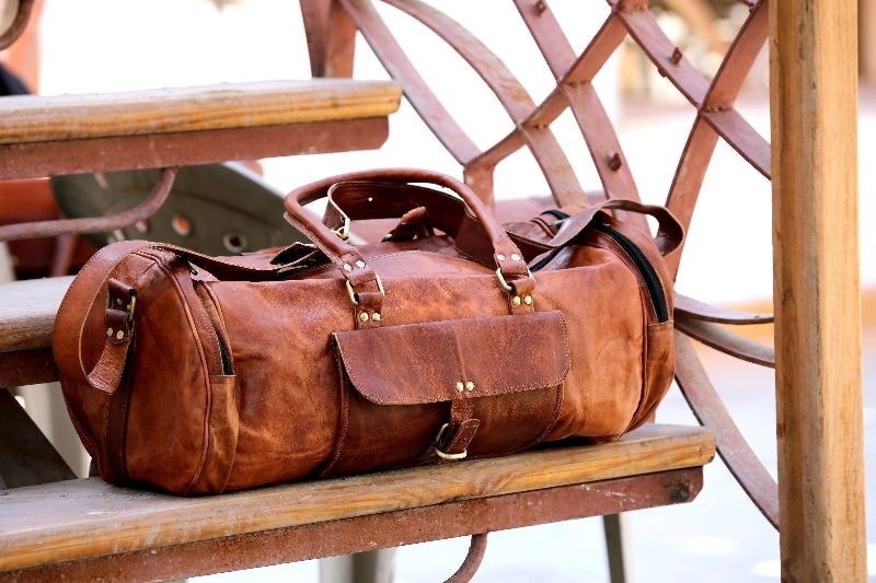 Brown 91 Handcrafted Exports Vintage Leather Duffel Round Shoulder Bag