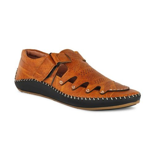 Casual Brown Men Leather Sandals
