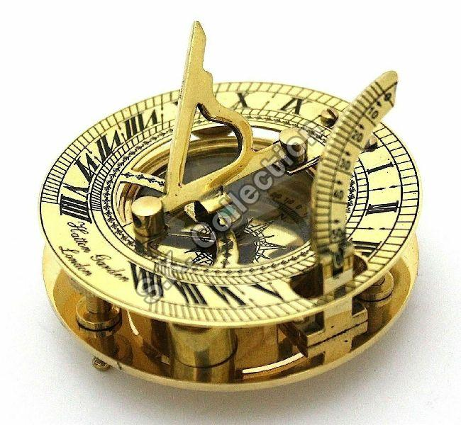 Solid Brass Sundial Compass With Hardwood Box
