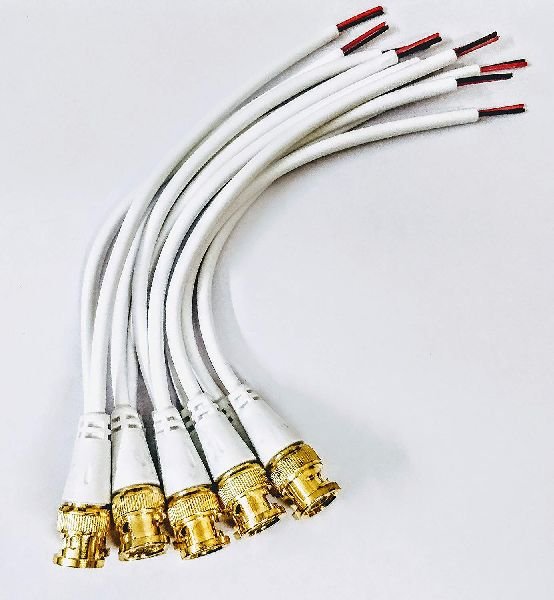 BNC Connector with Copper Wire Moulded - 10PCS - 18CM - BNC Golden Male Plug Cable (White)
