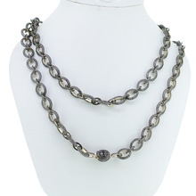 Pave Diamond Fashion Long Chain Necklace
