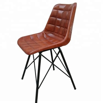 Groovy Vintage Industrial Giron Iron And Leather Dining Chair Alphanode Cool Chair Designs And Ideas Alphanodeonline