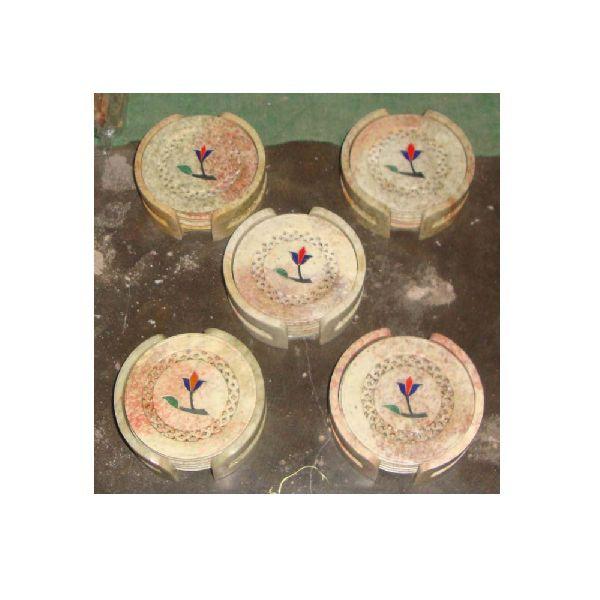 Round White Soapstone Drink Coaster Set