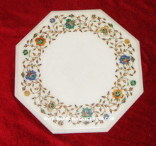 Inlay White Marble Coffee Table Top