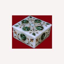 White Marble inlay Box, Decorative Jewelry Box
