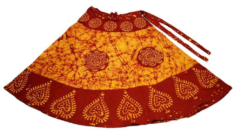 Cotton Printed Rajasthani Bohemian Knee Length Wrap Around Skirt Free Size