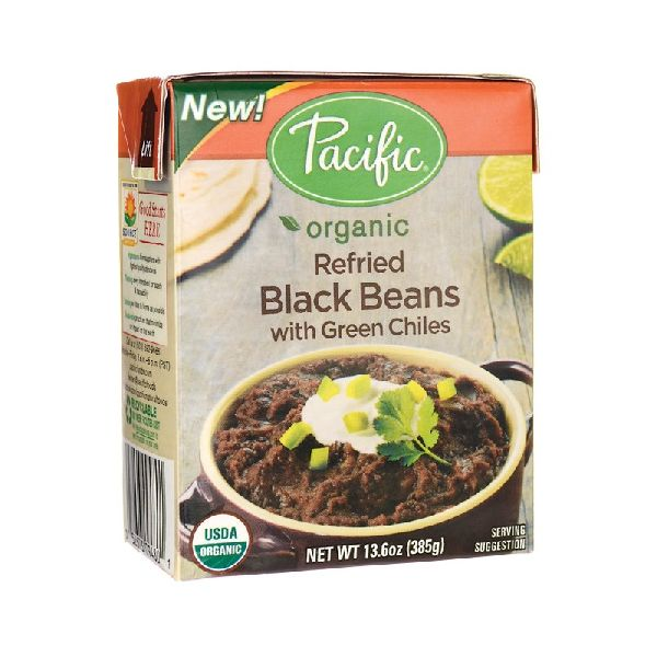 ORGANIC REFRIED BLACK BEANS WITH GREEN CHILES