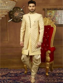 Indo Western Style Wedding Wear Banarasi Silk Sherwanis Manufacturer In Id 4776722