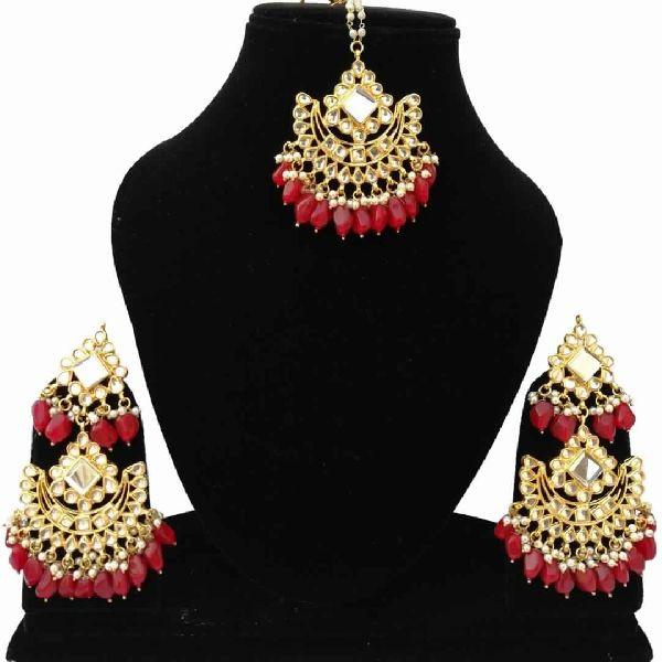 Buy Designer Gold Plated Bridal Wedding Style Maang Tikka Earrings