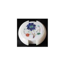 Marble Inlaid Tea Coaster Set