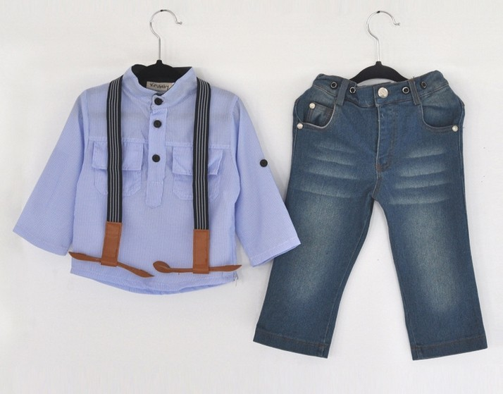 BOYS SLING STRAP DENIM SUITS SETS