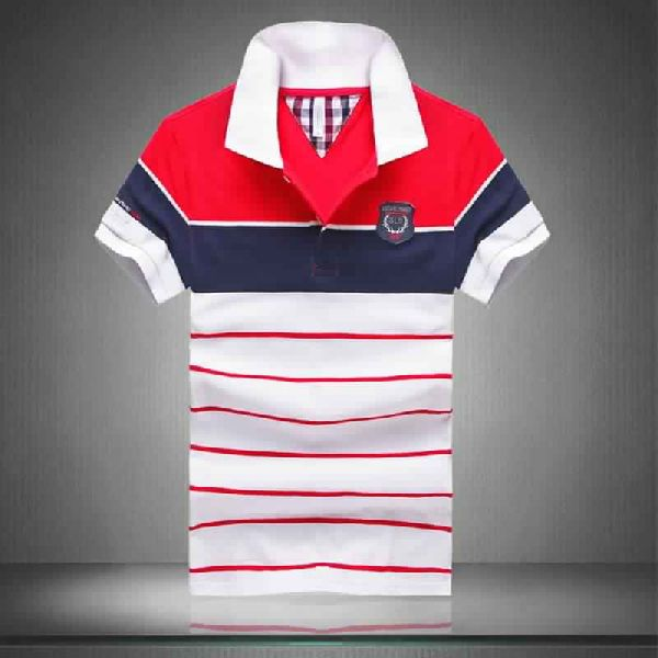 COTTON SHORT SLEEVE STRIPED POLOS