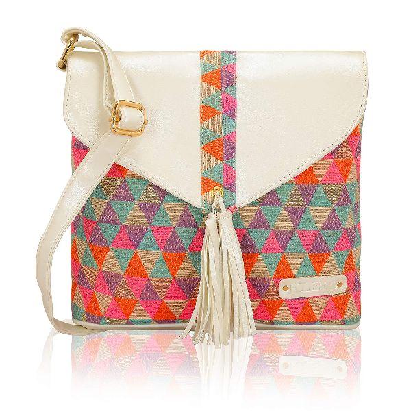KLEIO Ethnic Woven Fabric Small Shoulder Crossbody Messenger Handbag