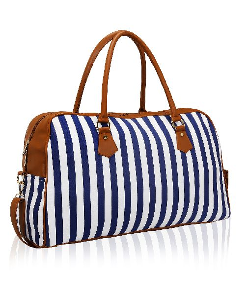 KLEIO Striped Spacious Unisex Weekend Travel Duffel Bag (ECO2007KL-BU)