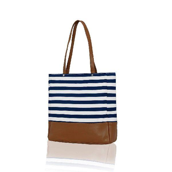 KLEIO Stylish Ladies Striped Tote Shopping Bag (ECO2006KL-BU)